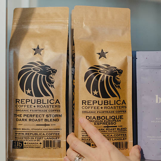 Artisan roasted coffee available at the Polly Fox